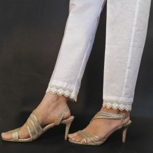 1 ZT150 Cotton Trouser Pant For Women Ladies - With Bottom Lace - White