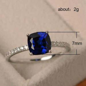 Zircon Square Diamantes Ring For Women Ladies Silver Blue