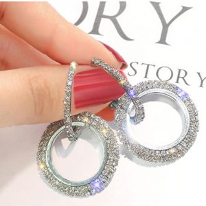 Circle Design Formal Earring For Women For Party Wedding - Silver
