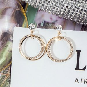 Circle Design Formal Earring For Women For Party Wedding Gold