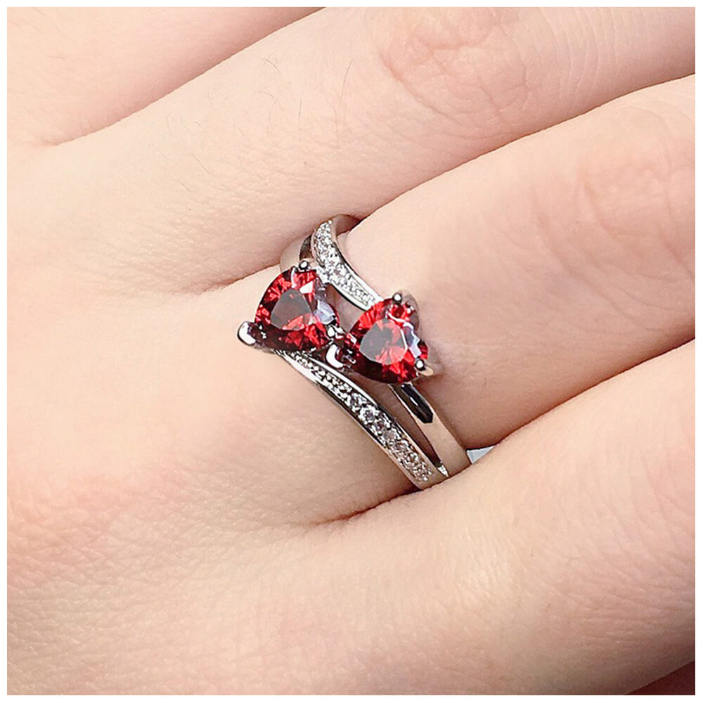 Hearts Design - AAA Zirconia Ring For Women Ladies - Silver - Red
