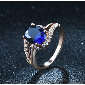 Diamantes Ring For Ladies With Blue Stone