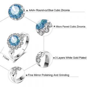 Floral Ring For Women With Blue Stone