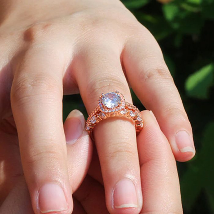 2 pc Ring Set For Women - Rose Gold