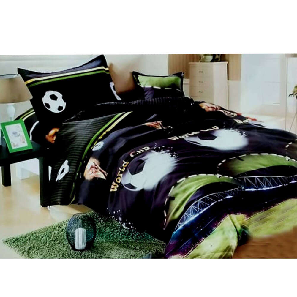F01 Black Flannel Double King Size Bedsheet With 2 Pillowcases - 1