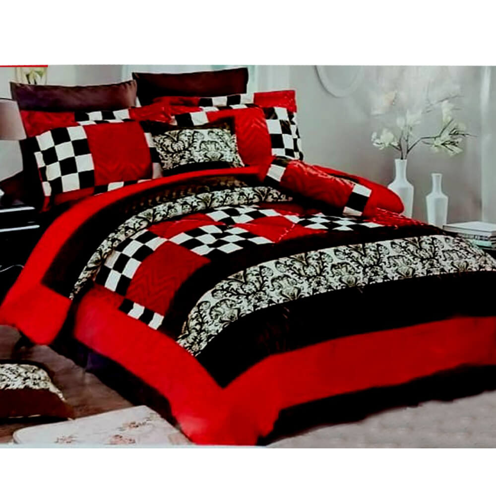 F02 Red Flannel Double King Size Bedsheet With 2 Pillowcases