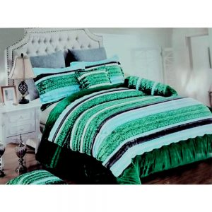 F03 Green Flannel Double King Size Bedsheet With 2 Pillowcases