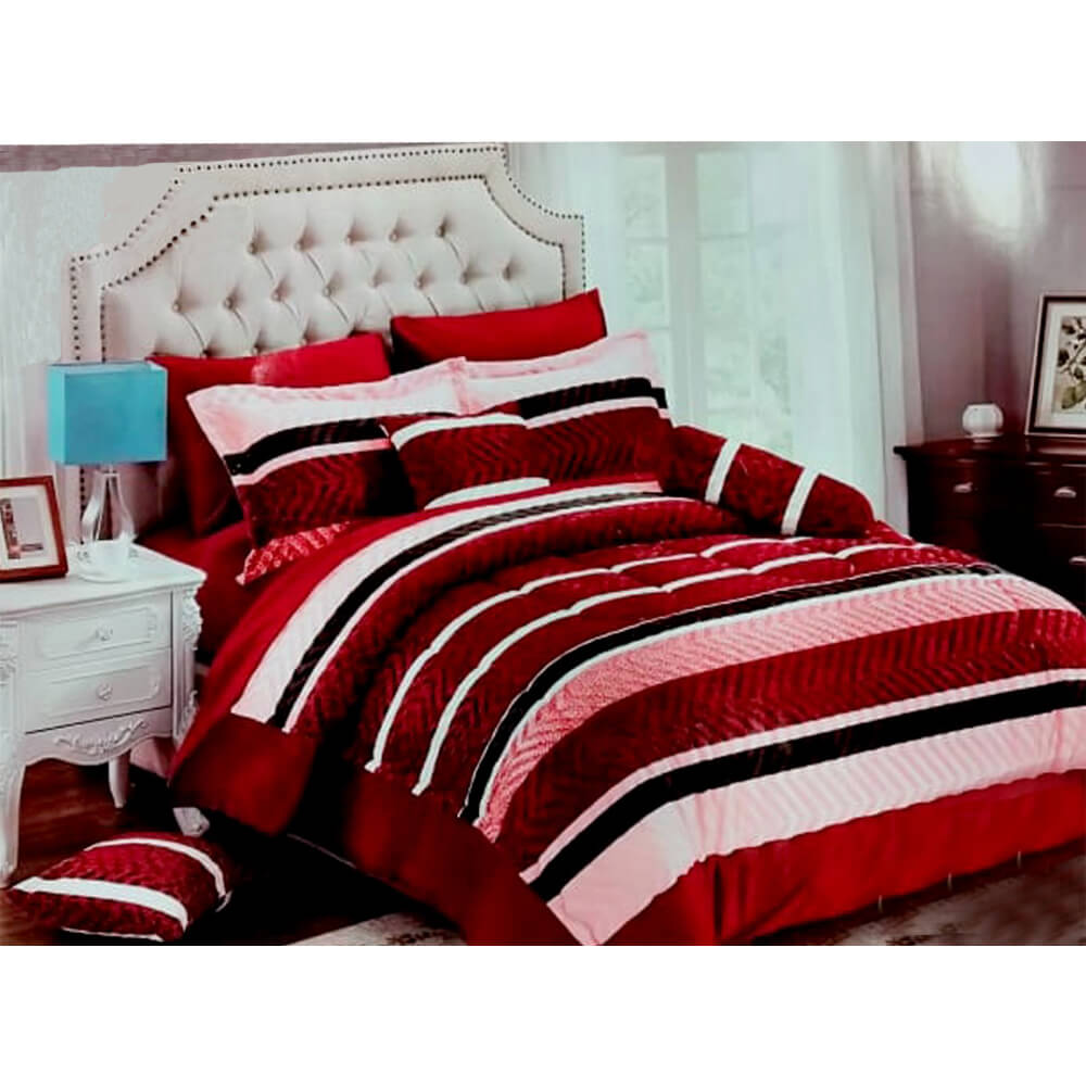 F05 Flannel Double King Size Bedsheet With 2 Pillowcases