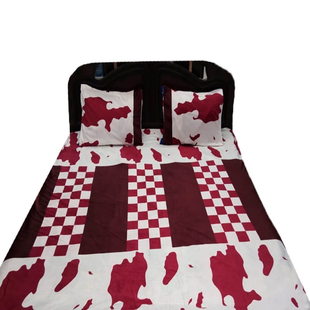 Flannel Double King Size Bedsheet With 2 Pillowcases