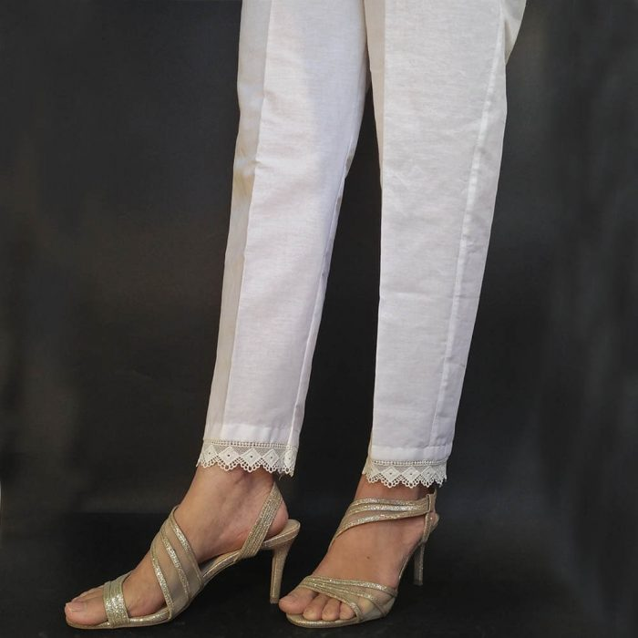 ZT150 Cotton Trouser Pant For Women Ladies - With Bottom Lace - White 3