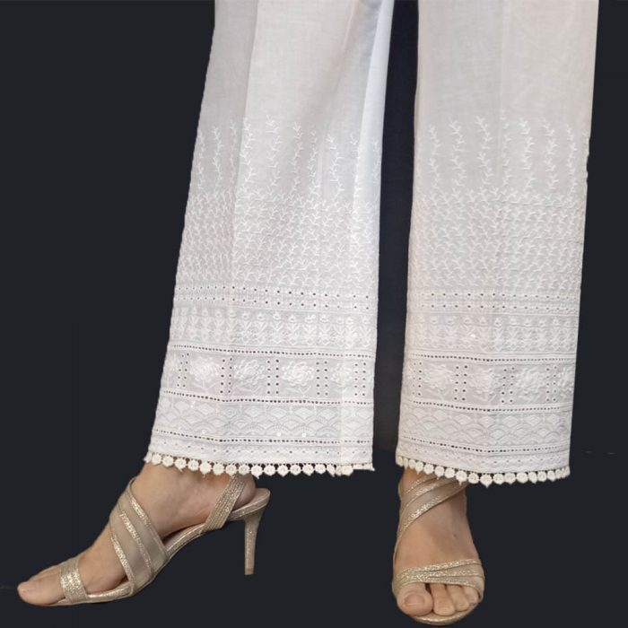 Chikan Palazzo Trouser For Ladies Women Soft Cotton