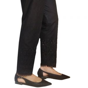 Chikan - trouser Pant For Ladies Women - Soft Cotton - Black