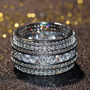 Sterling Silver Chandi Ring For Women Heavy Diamantes High Quality