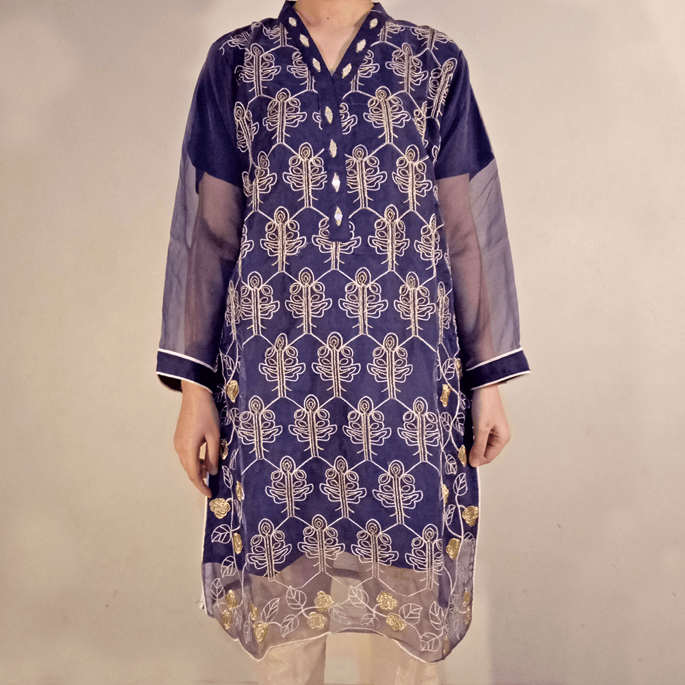 Embroided Tissue Kurti Formal Wear Blue