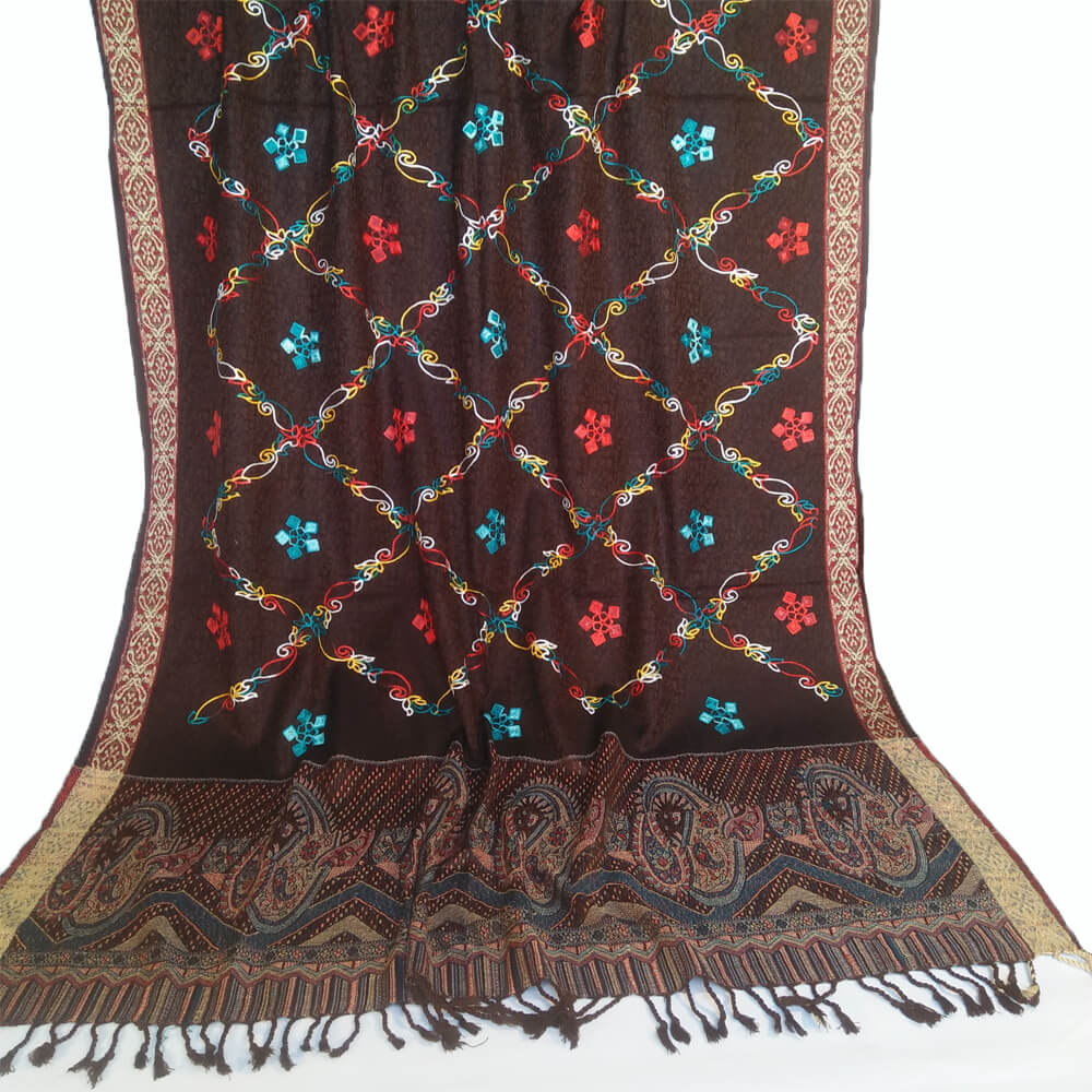 Embroided Winter Shawl For Women Ladies Large Warm 2.5 yard Length Wool