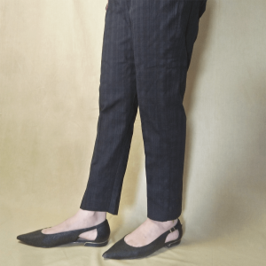 Checkered Trouser Pant For Women Cotton Black