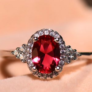 Sterling Silver Ring With Red Stone High Quality