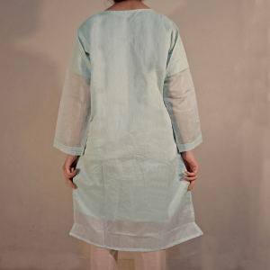 Embroided Paper Cotton Kurti Formal Wear Green