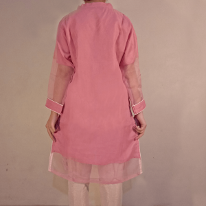 Embroided Tissue Kurti Formal Wear Pink