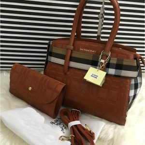 AAA Quality Branded Burberry 2 Peice Bag With Burberry Keychain - Brown