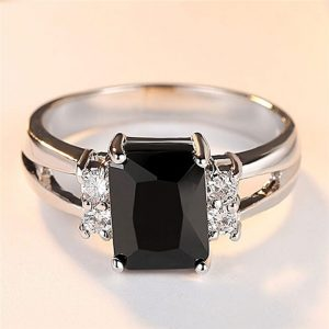 Sterling Silver Ring With Black Stone - High Quality