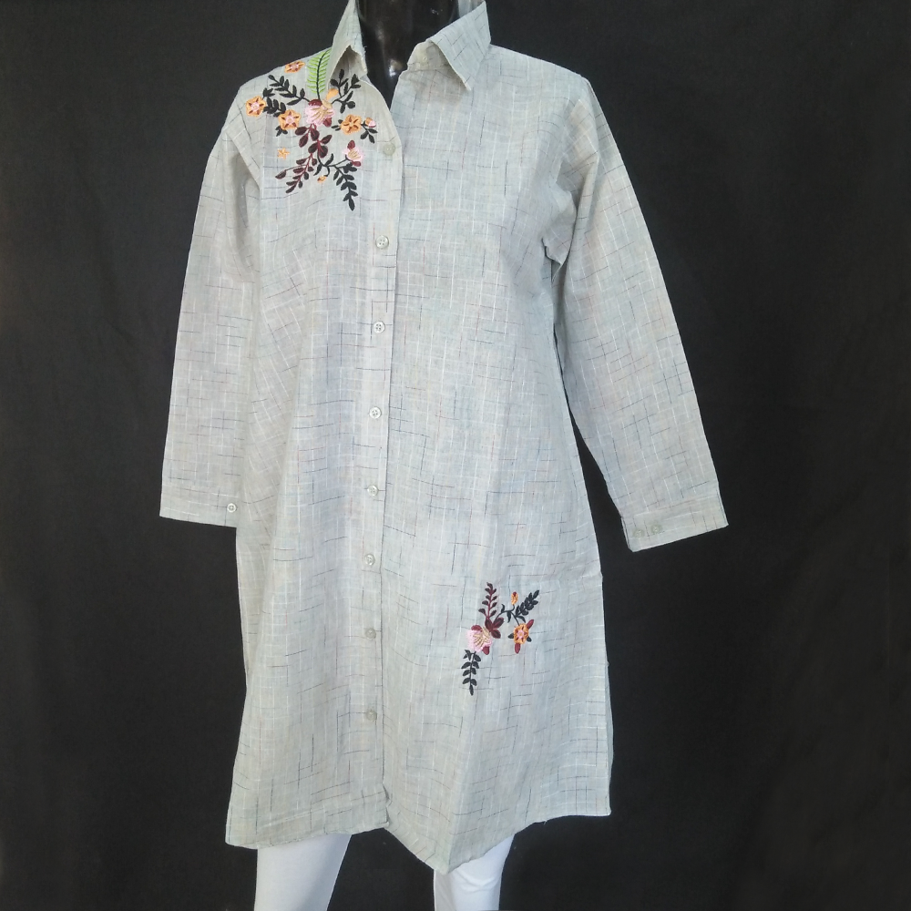 Check Pattern - Embroided - Kurti For Ladies - Grey ZK72