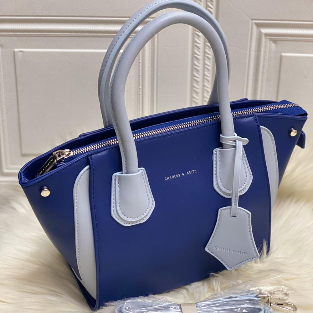 High Quality CHARLES & KEITH Bag with Brand Dust Bag & Long strap - Blue