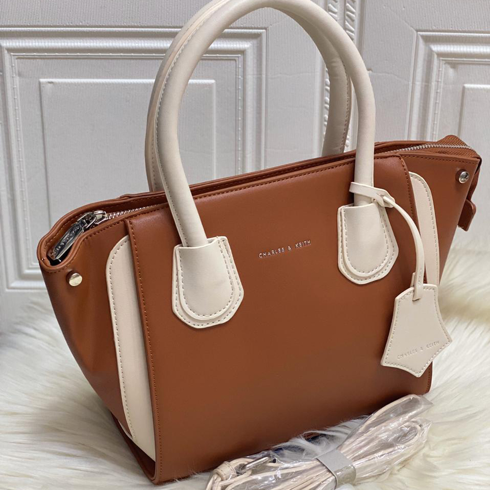 High Quality CHARLES & KEITH Bag with Brand Dust Bag & Long strap - Brown