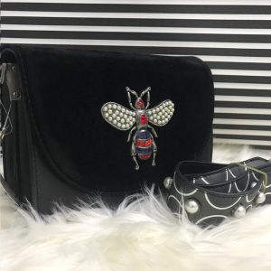 High Quality Cross Body Bee Bags With Stylish Long Strap - Black