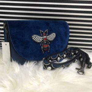 High Quality Cross Body Bee Bags With Stylish Long Strap - Blue
