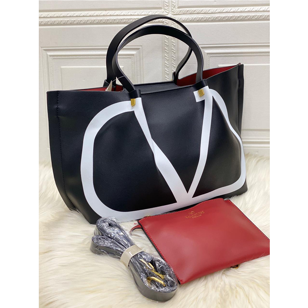 High Quality Valentino Vlogo Escape Small Calf Tote With Long Starp - Black