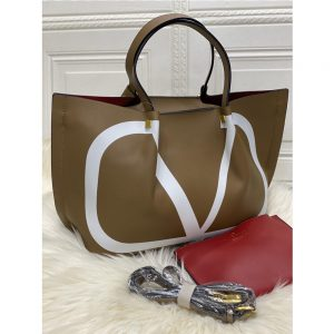 High Quality Valentino Vlogo Escape Small Calf Tote With Long Starp - Camel