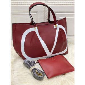 High Quality Valentino Vlogo Escape Small Calf Tote With Long Starp - Maroon