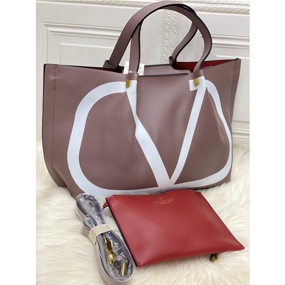 High Quality Valentino Vlogo Escape Small Calf Tote With Long Starp - Nude