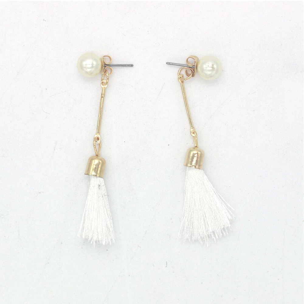 Tassel Drop Earring For Women Ladies - White Gold - AE114