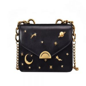 High Quality Cross Body Bags With Long Chain strap - Black