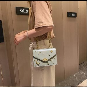 High Quality Cross Body Bags With Long Chain strap - White