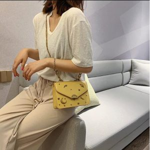 High Quality Cross Body Bags With Long Chain strap - Yellow
