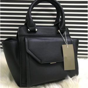 High Quality Leather Women Handbag With Tote - Black