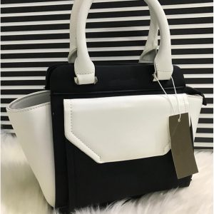 High Quality Leather Women Handbag With Tote - BlackWhite