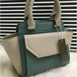 High Quality Leather Women Handbag With Tote - Green Nude