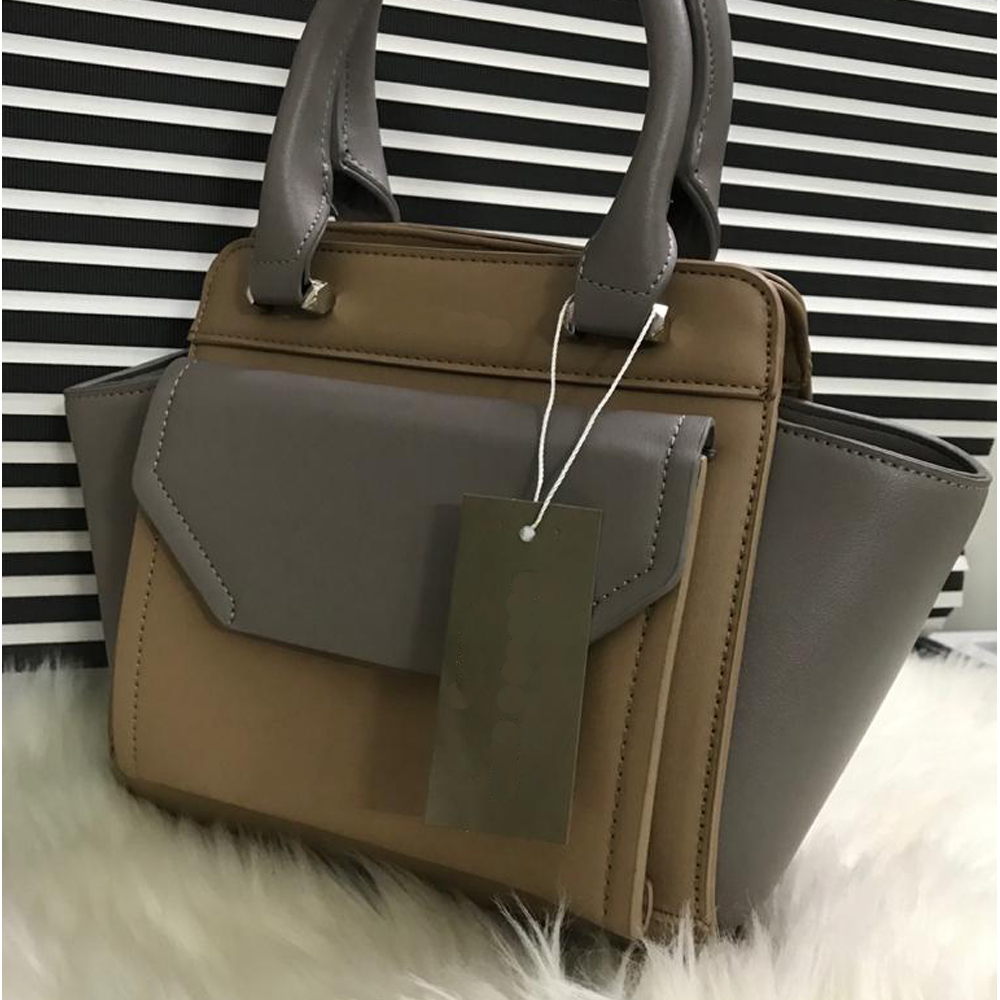High Quality Leather Women Handbag With Tote - Nude grey