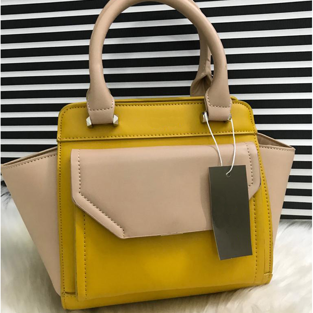 High Quality Leather Women Handbag With Tote - Yellow nude