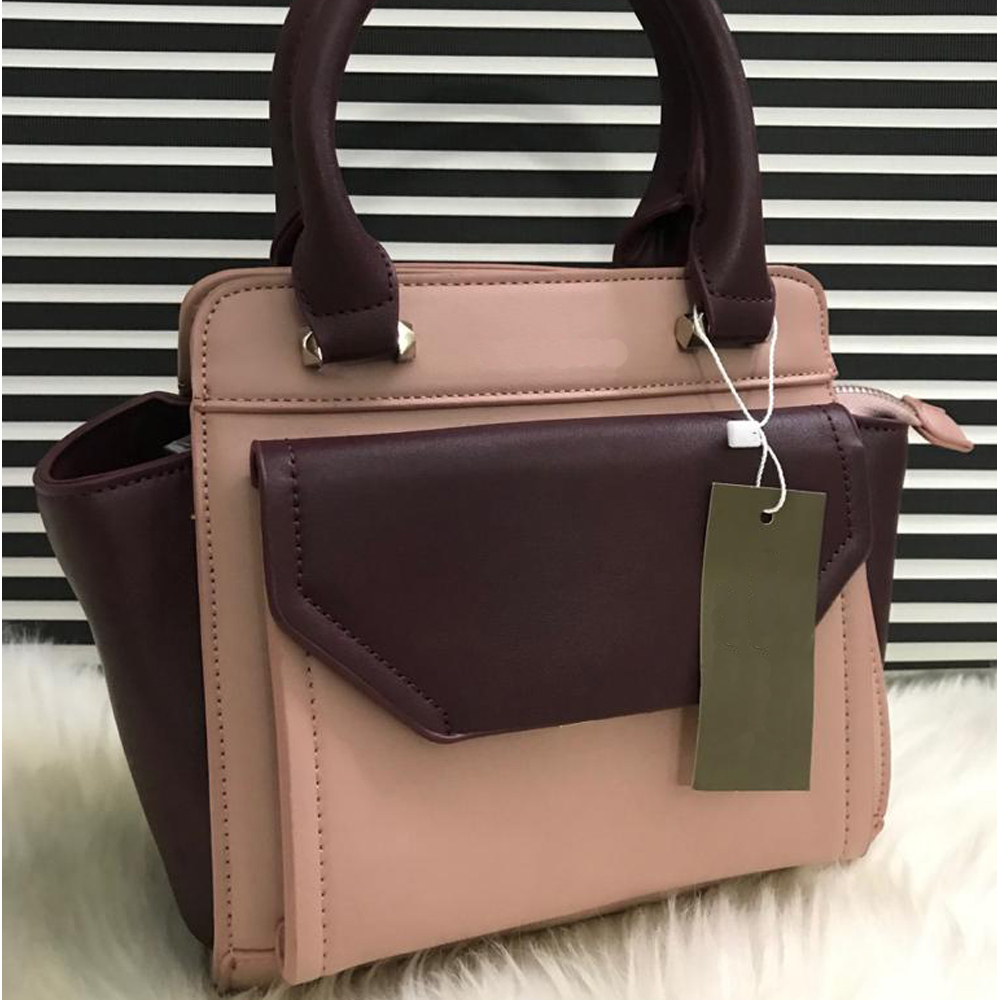 High Quality Leather Women Handbag With Tote - pink plum