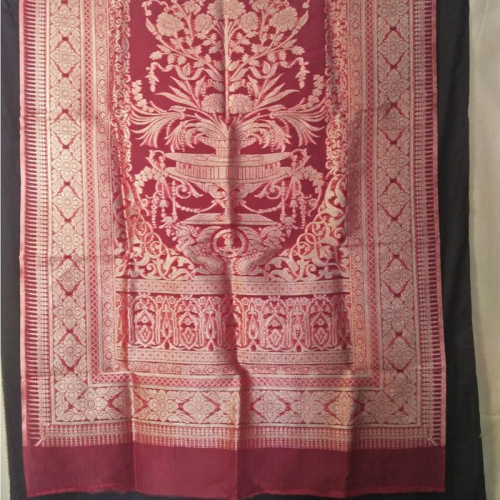 Jaquard - Organza - Large Dupatta - For wedding party - Red-ZD309