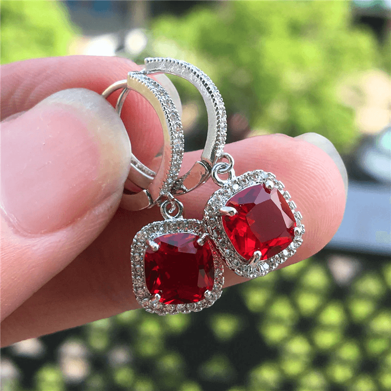 AAA Zircon - Drop Earring For Women - Silver With Red Stone