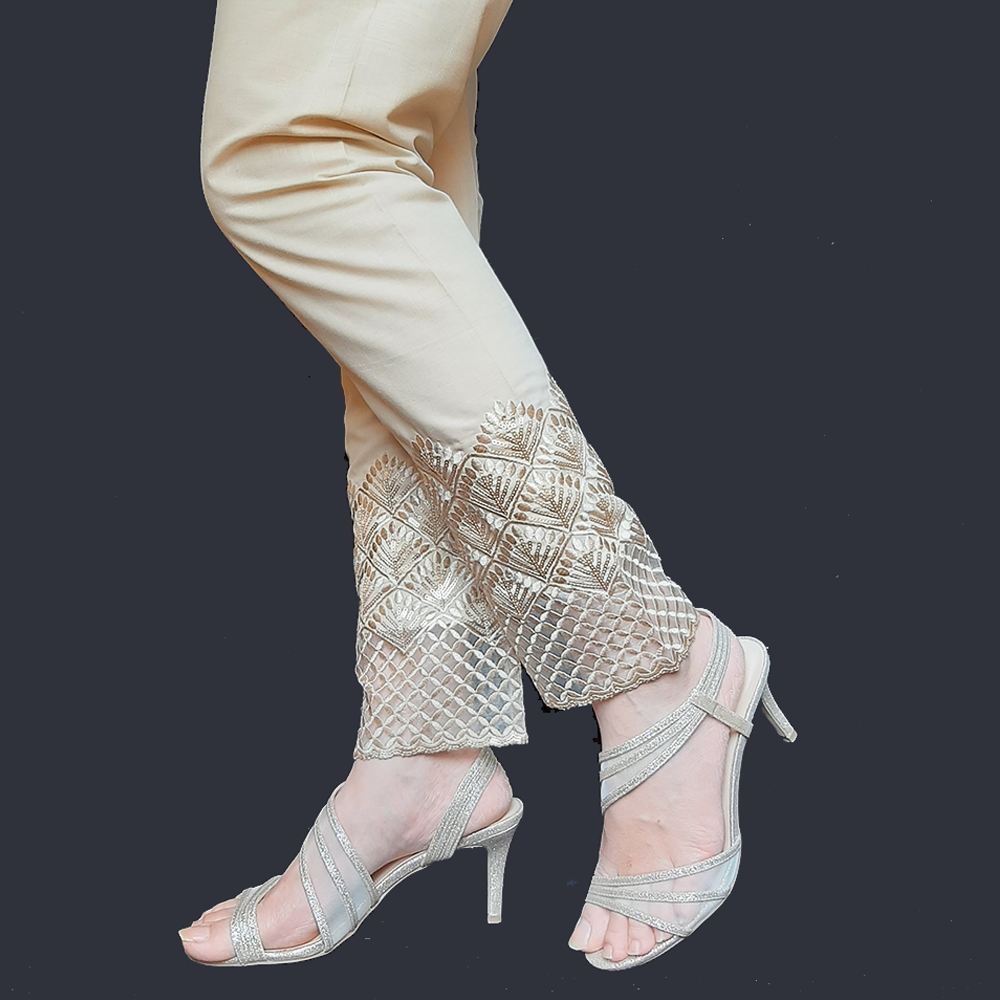 Embroided Trouser Pant For Women Ladies - Cotton - Beige