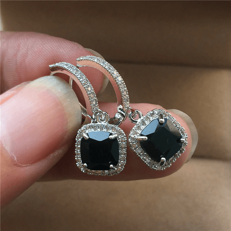 AAA Zircon - Drop Earring For Women - Silver With Black Stone
