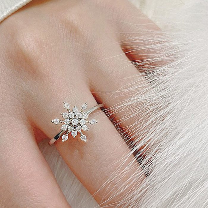 Floral Resizeable AAA Zircon Ring For Women High Quality Silver For Women