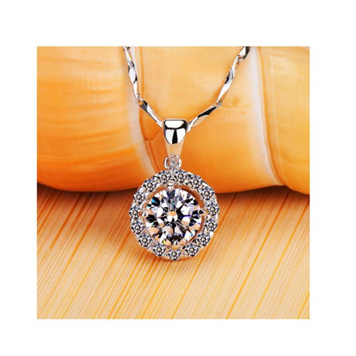Silver Plated Chain Necklace For Women With Pendant - Silver